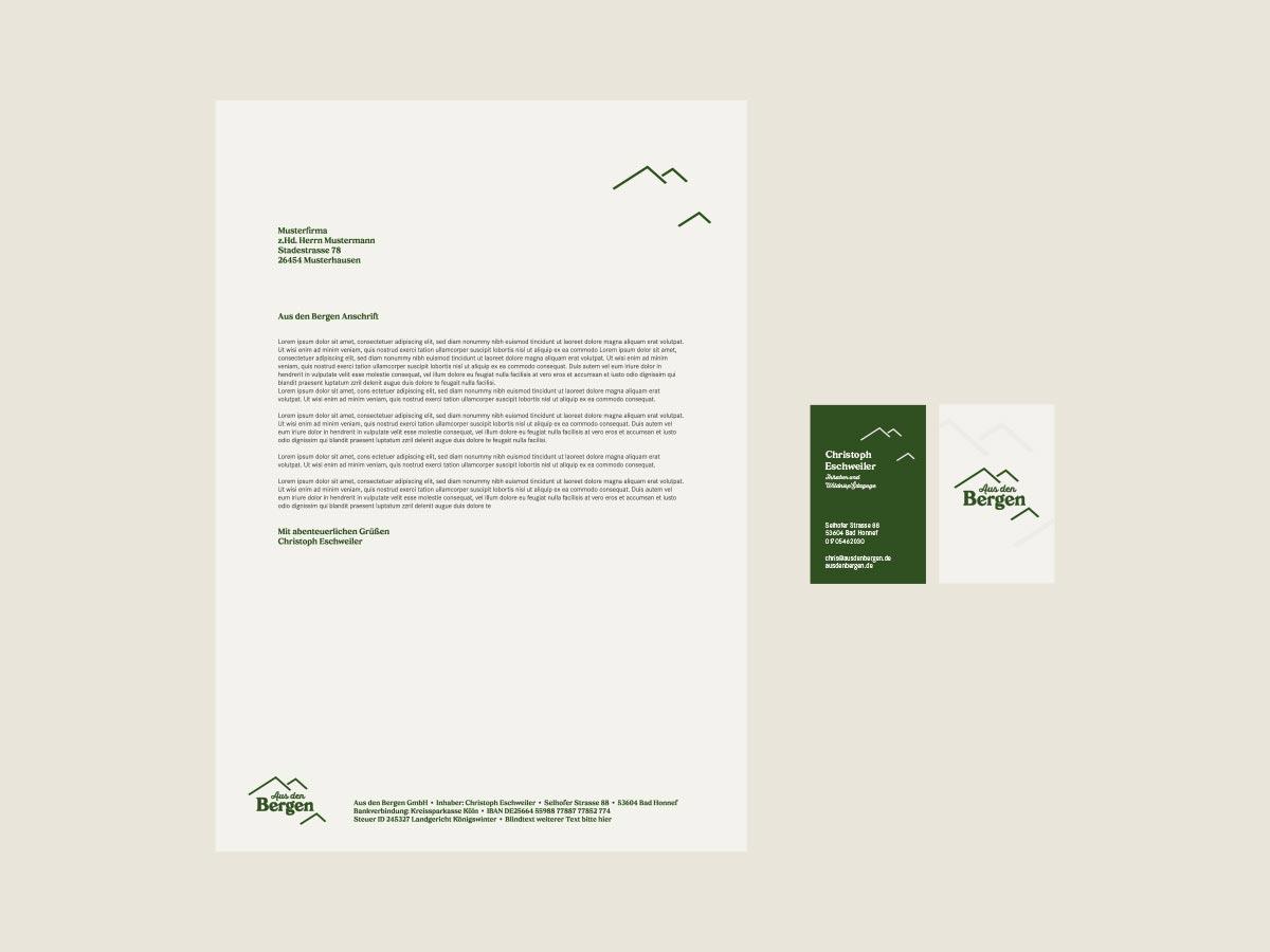 Markendesign briefbogen visitenkarte