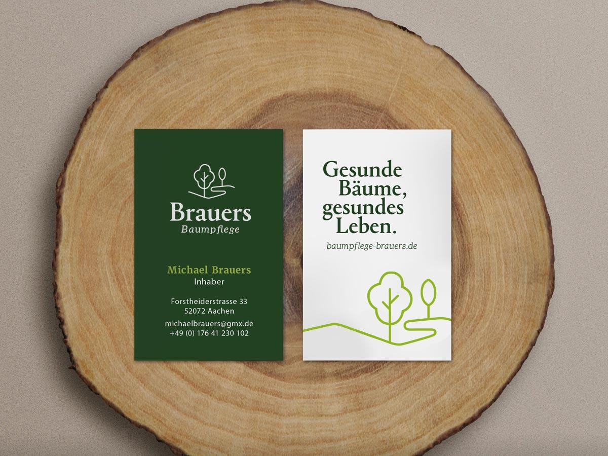 brauers baumpflege branding markenentwicklung visitenkarte