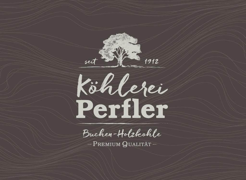 Köhlerei Branding Logodesign auf dunklem Grund